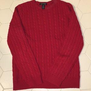 Lauren by Ralph Lauren Red Cableknit Sweater